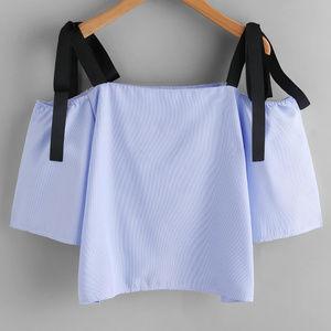 Tops - Contrast Bow Tie Strap Top